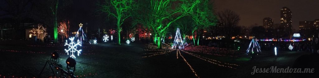 180 Panorama taken on the DJI Osmo Pocket of Zoo Lights, Lincoln Park Zoo, Chicago